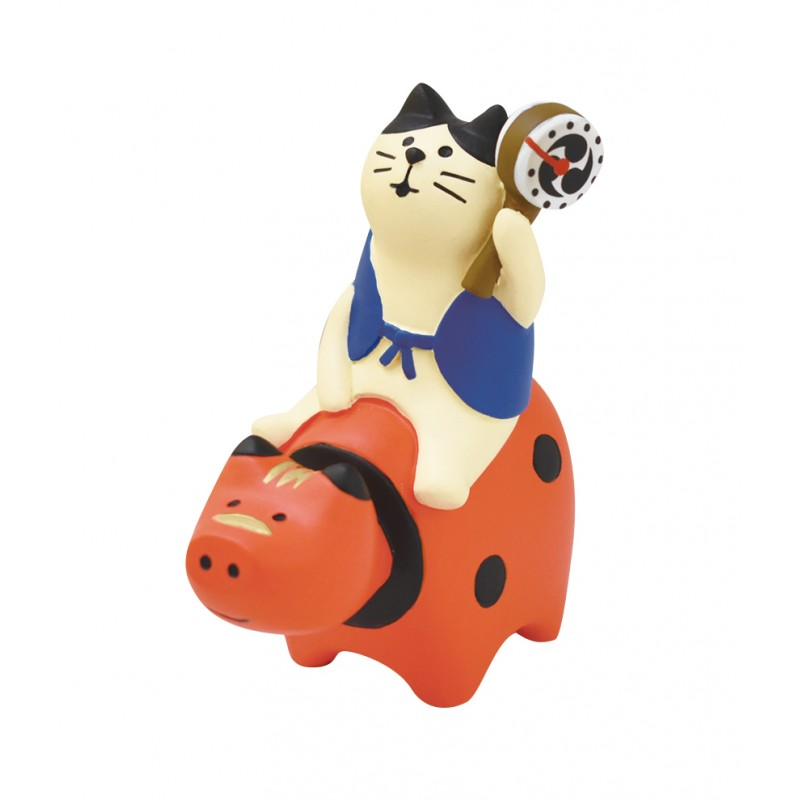 Decole Concombre - Doll Goods - Fuku Cats Series - Chinese Zodiac Decoration Ox Lucky Cat Red Bull