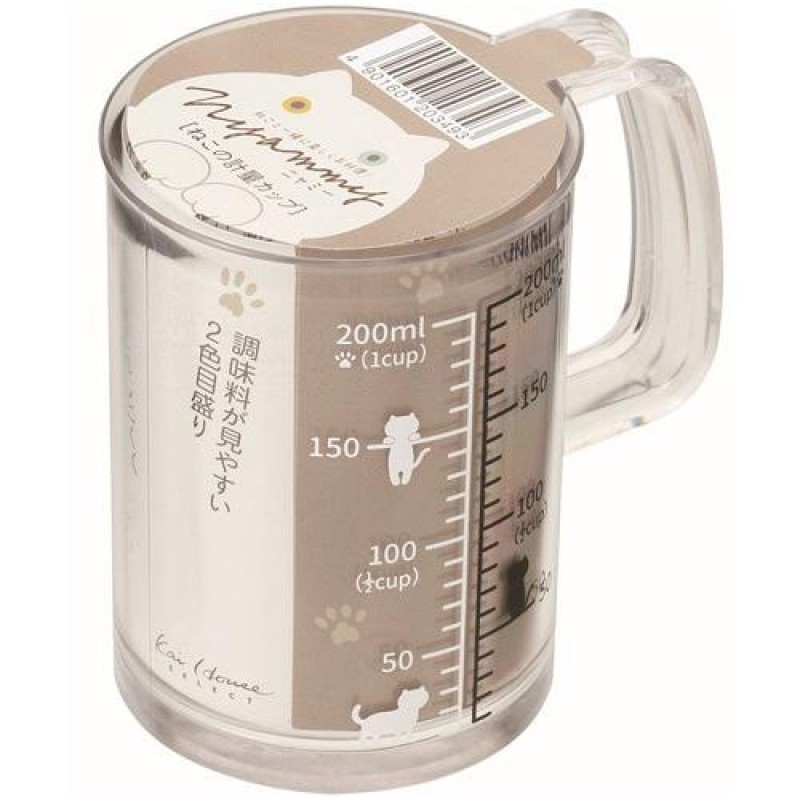 Nyammy Cat Measuring Cup (Made in Japan) 200ml - A good helper for managing cat growth and weight
