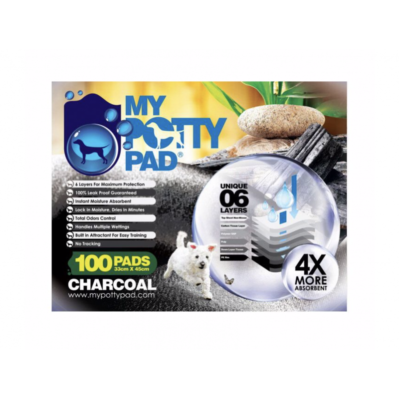 MY POTTY PAD 殿堂吸 Charcoal Urine Pad Six Layers - 100pcs 33x45cm (Applicable to double layer cat litter box or pet cage 1.5ft )