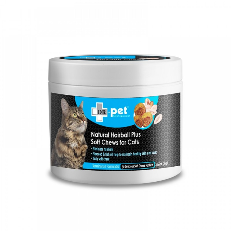 Dr.Pet Natural Hairball Plus Soft Chews for Cat (50 Soft Chews) - Product Available