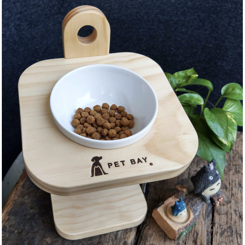 Pet Bay Taiwan Solid Wood Bowl Rack with Ceramic Bowl 1pc