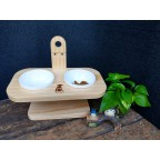 Pet Bay Taiwan Solid Wood Bowl Rack with Ceramic Bowl 2pcs [Out of Stock] Estimated return in End of May. Please Pre-Order