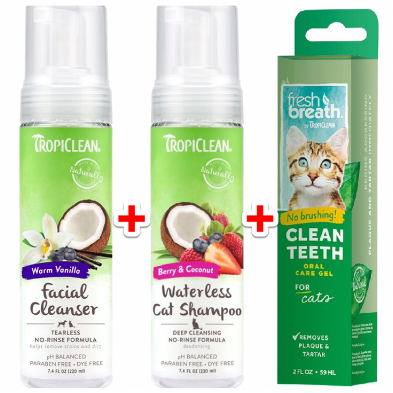 Tropiclean Cat Cleaning Package Offer - Waterless Facial Cleanser 220ml + Deep Cleaning Waterless Cat Shampoo 220ml + Oral Care Gel For Cat 59ml