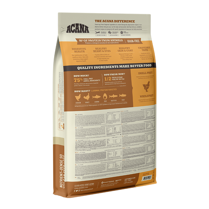 Acana Regional Wild Prairie Cat & Kitten 4.5kg (New bag and nutrition formula)