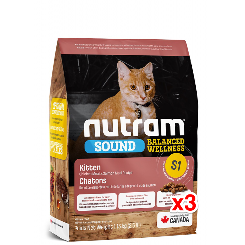 Nutram Sound Balanced Wellness for Kitten - Chicken + Salmon 1.13kg x3 Bags /$121/pc=$363
